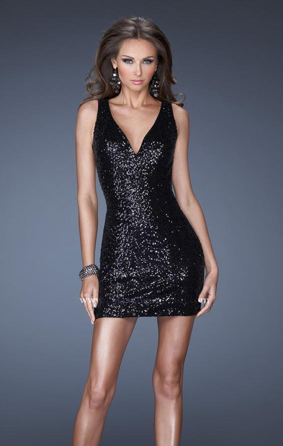 Picture of: Short Fitted Sequin Prom Dress with Deep V Neckline in Black, Style: 19482, Main Picture