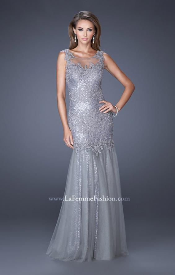 Picture of: Long Mermaid Sequin Prom Dress with Sheer Mesh Overlay, Style: 19485, Main Picture