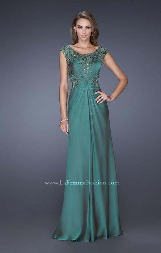 Picture of: Long Prom Dress with Sequin Bodice and Cap Sleeves in Green, Style: 19489, Main Picture