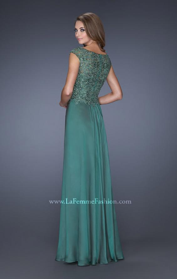 Picture of: Long Prom Dress with Sequin Bodice and Cap Sleeves in Green, Style: 19489, Back Picture