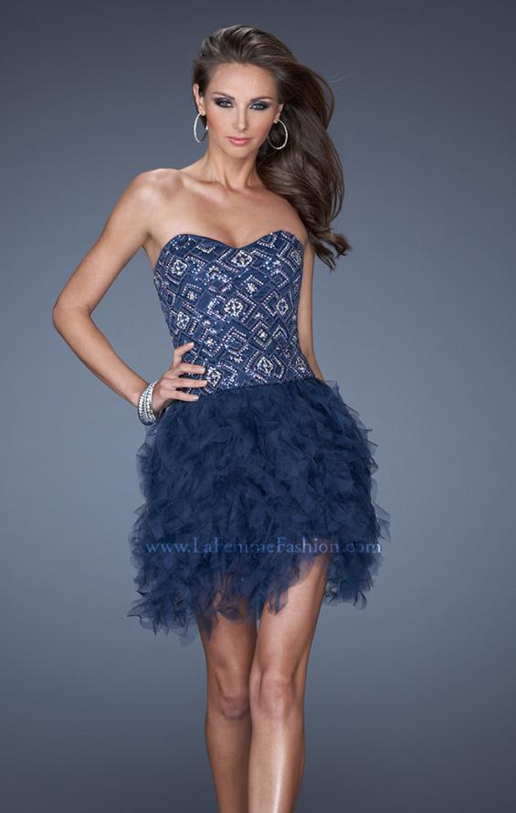 Picture of: Short Strapless Sequin Prom Dress with Shredded Tulle Skirt in Blue, Style: 19493, Main Picture