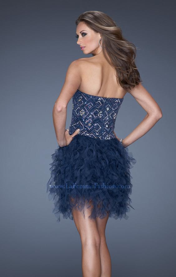 Picture of: Short Strapless Sequin Prom Dress with Shredded Tulle Skirt in Blue, Style: 19493, Back Picture