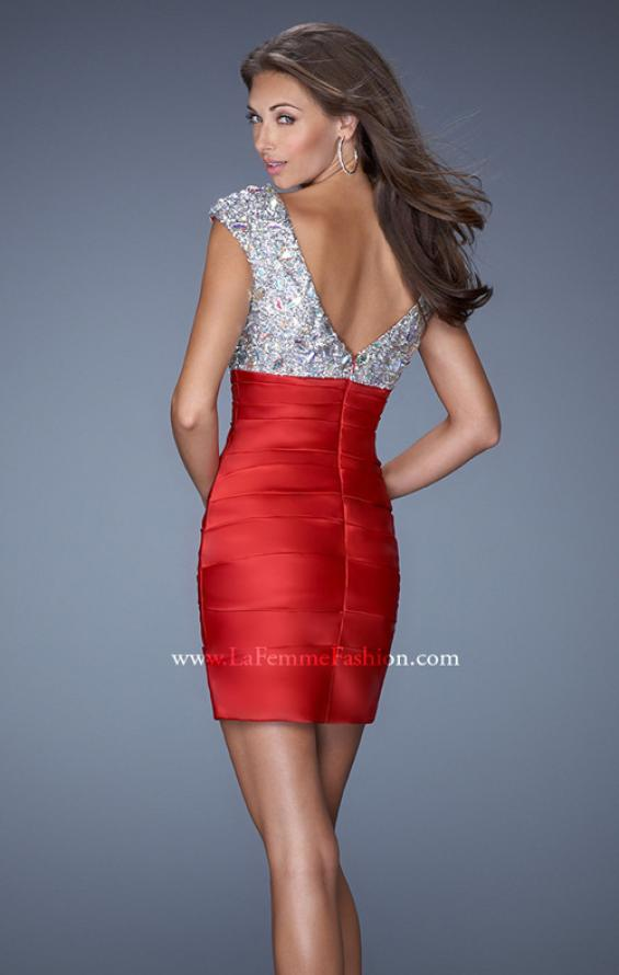 Picture of: Short Fitted Satin Prom Dress with Multi-Beaded Bodice in Red, Style: 19503, Back Picture
