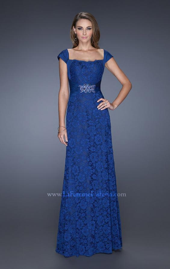 Picture of: Long Lace Dress with Ruched Chiffon Belt and Cap Sleeves, Style: 19509, Main Picture
