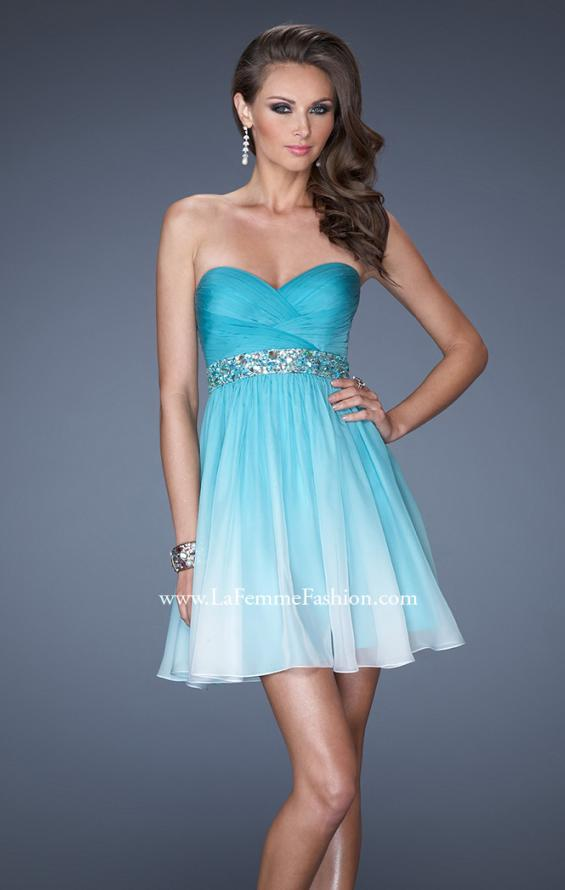 Picture of: Strapless Short Ombre Prom Dress with Beaded Belt in Blue, Style: 19514, Main Picture