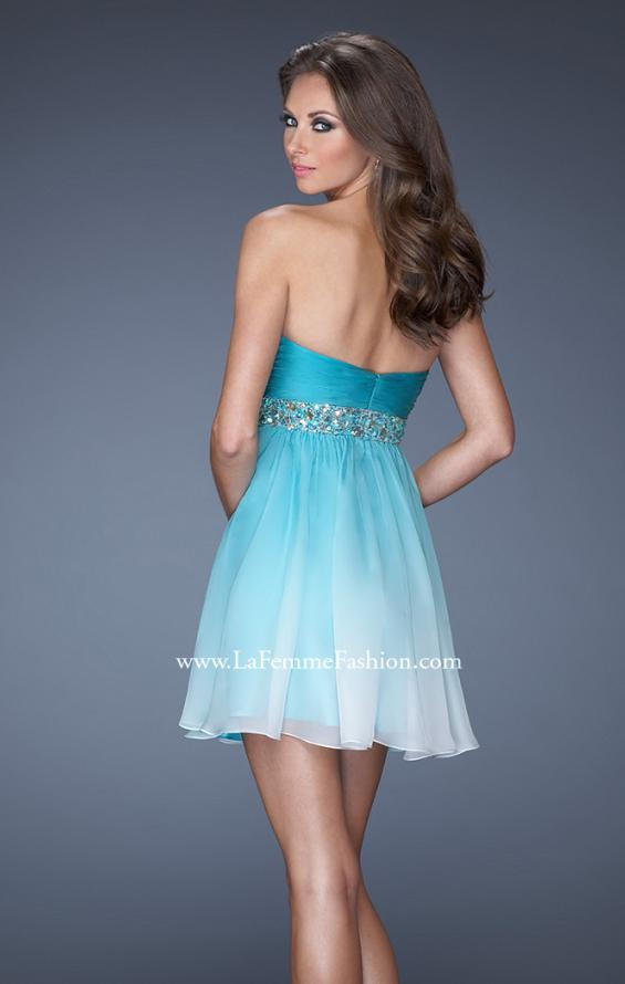 Picture of: Strapless Short Ombre Prom Dress with Beaded Belt in Blue, Style: 19514, Back Picture