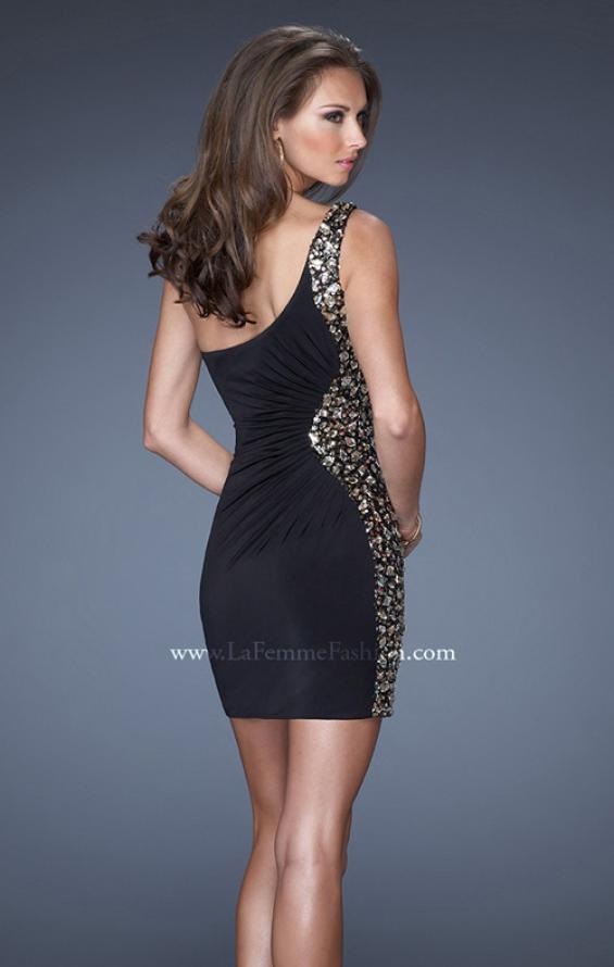 Picture of: Short One Shoulder Dress with Sequin Side Panel, Style: 19521, Back Picture