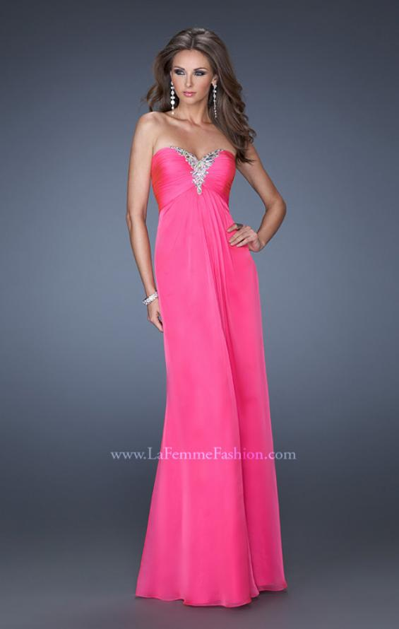 Picture of: Strapless Long Chiffon Prom Dress with Bejeweled Bodice, Style: 19528, Main Picture