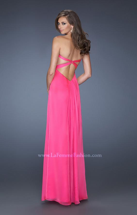 Picture of: Strapless Long Chiffon Prom Dress with Bejeweled Bodice, Style: 19528, Back Picture