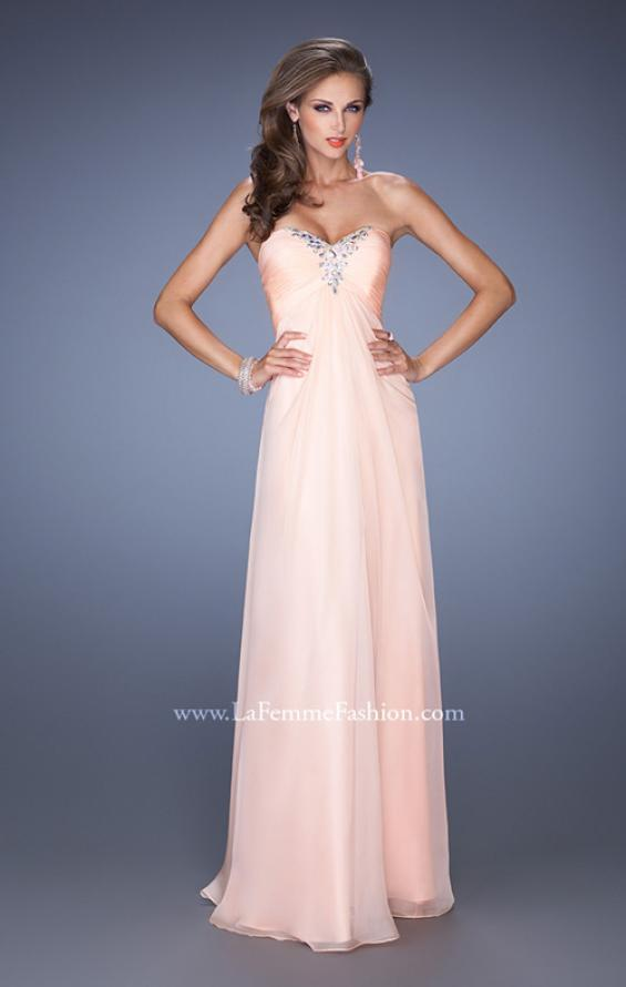 Picture of: Strapless Long Chiffon Prom Dress with Bejeweled Bodice, Style: 19528, Detail Picture 1