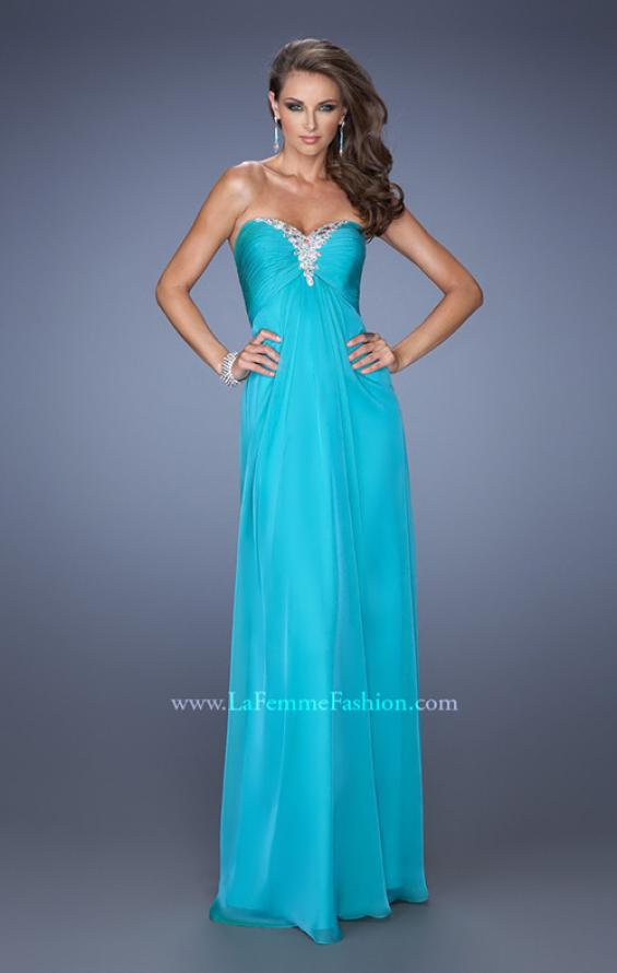Picture of: Strapless Long Chiffon Prom Dress with Bejeweled Bodice, Style: 19528, Detail Picture 2