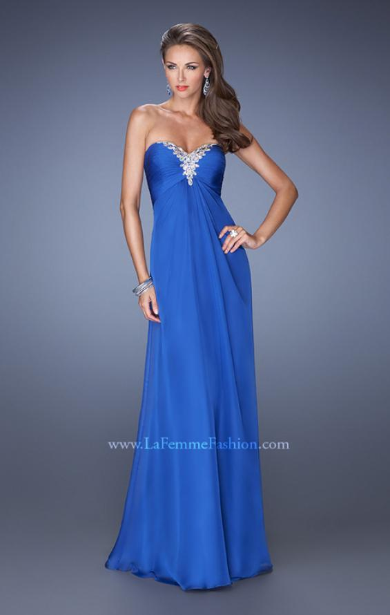 Picture of: Strapless Long Chiffon Prom Dress with Bejeweled Bodice, Style: 19528, Detail Picture 3
