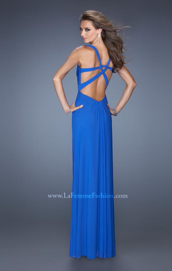 Picture of: Long Jersey Prom Gown with Embellished Illusion Neckline, Style: 19531, Back Picture