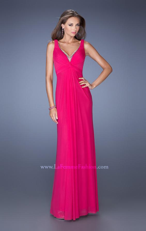 Picture of: Long Jersey Prom Gown with Embellished Illusion Neckline, Style: 19531, Detail Picture 1