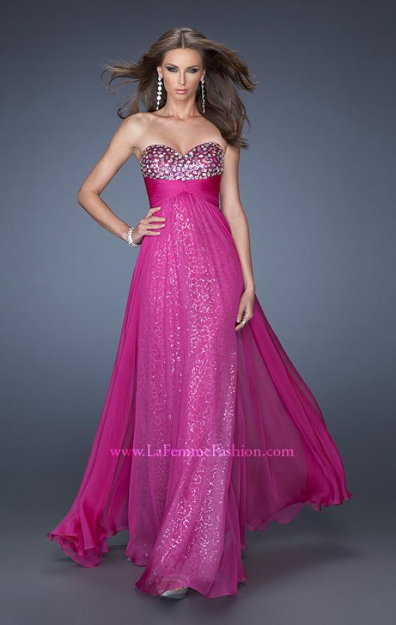Picture of: Strapless Long Chiffon Prom Dress with Sequin Underlay, Style: 19543, Main Picture