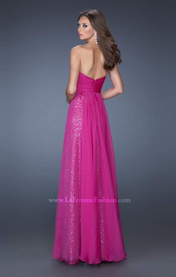 Picture of: Strapless Long Chiffon Prom Dress with Sequin Underlay, Style: 19543, Back Picture