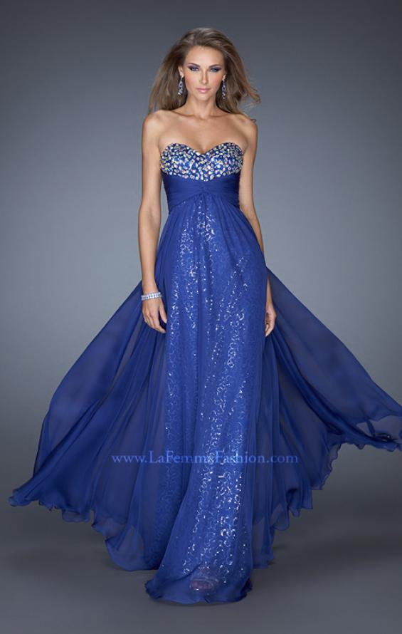 Picture of: Strapless Long Chiffon Prom Dress with Sequin Underlay, Style: 19543, Detail Picture 1