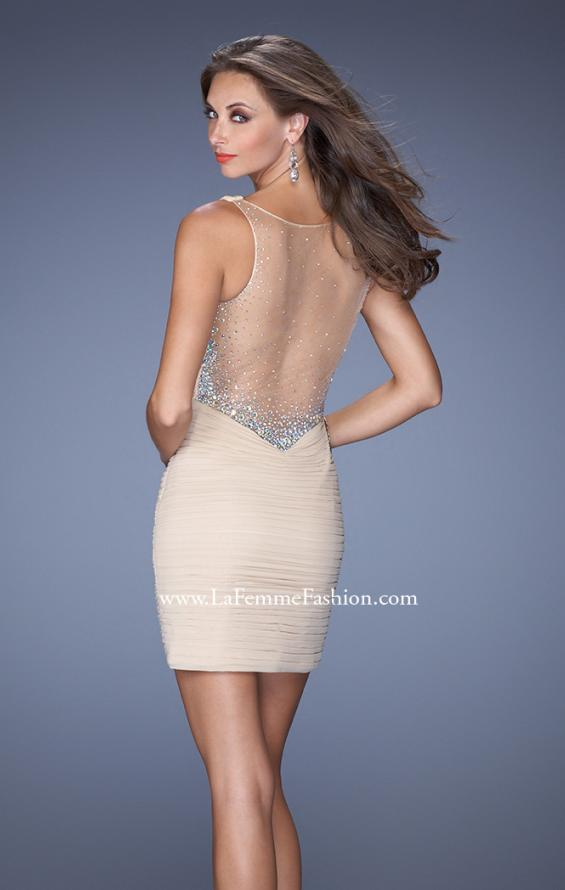 Picture of: Short Fitted Prom Dress with Ruching and Sheer Back, Style: 19550, Detail Picture 2