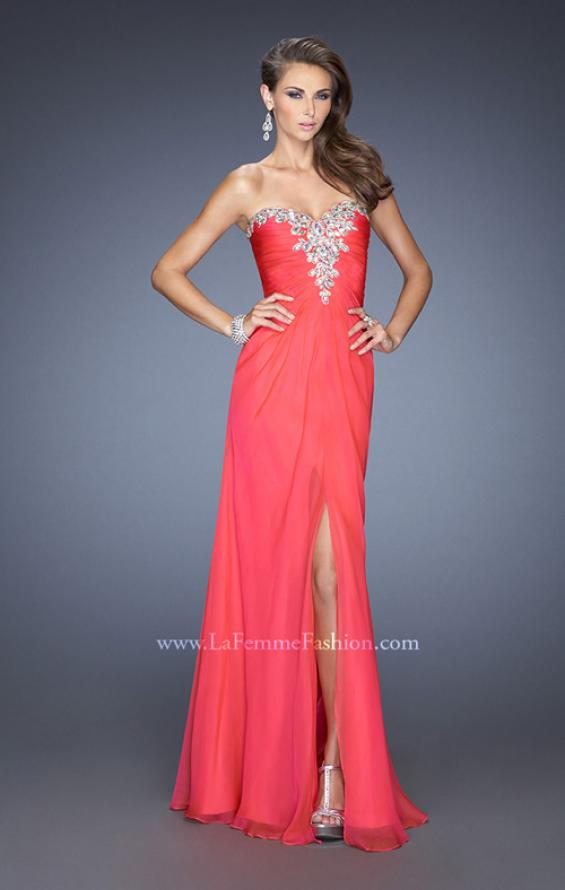 Picture of: Fitted Chiffon Prom Gown with Beaded Details on Bodice , Style: 19559, Main Picture