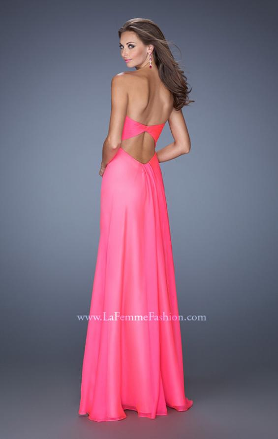 Picture of: Fitted Chiffon Prom Gown with Beaded Details on Bodice , Style: 19559, Back Picture