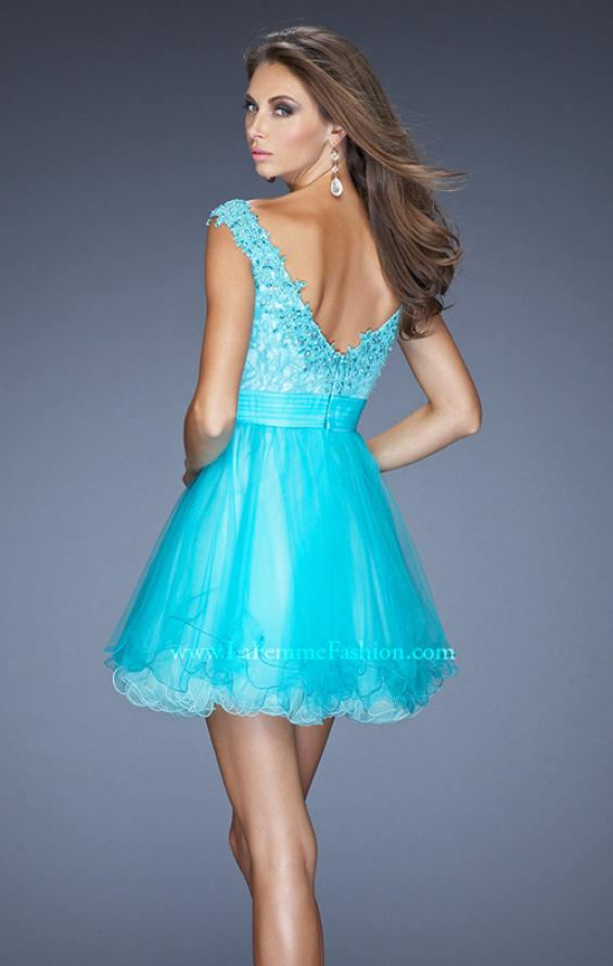 Picture of: Short Prom Dress with Tulle Skirt and Embellished Lace Bodice, Style: 19572, Back Picture
