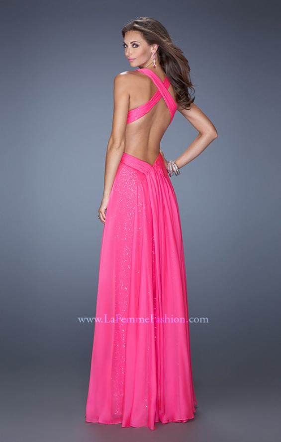 Picture of: Long A-line Chiffon Prom Dress with Sequin Underlay, Style: 19584, Back Picture