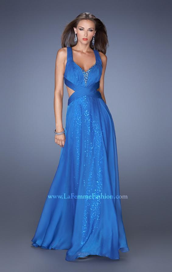 Picture of: Long A-line Chiffon Prom Dress with Sequin Underlay, Style: 19584, Detail Picture 1