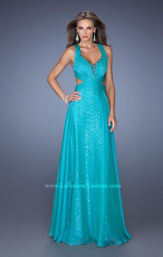 Picture of: Long A-line Chiffon Prom Dress with Sequin Underlay, Style: 19584, Detail Picture 2