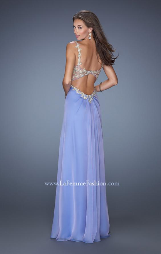 Picture of: Long Chiffon Prom Gown with Beaded Lace Details, Style: 19585, Back Picture