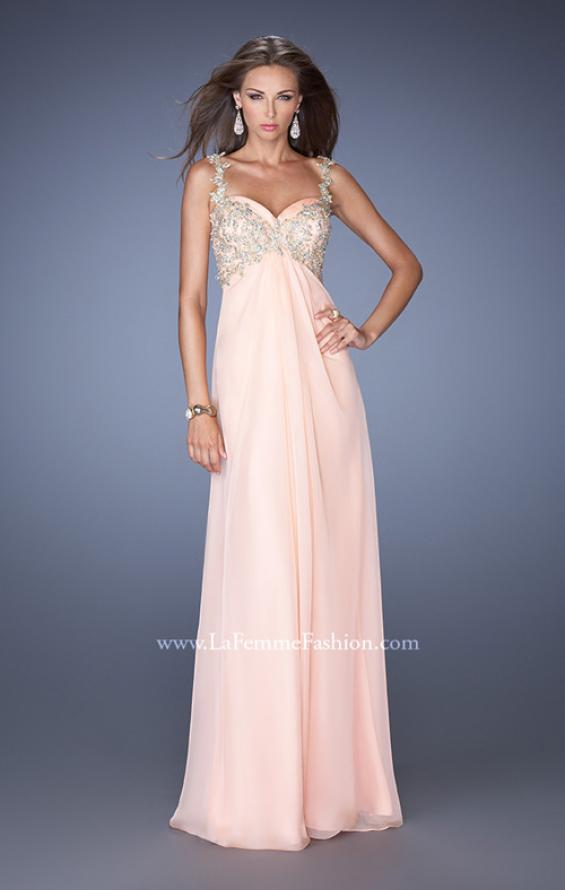 Picture of: Long Chiffon Prom Gown with Beaded Lace Details, Style: 19585, Detail Picture 1