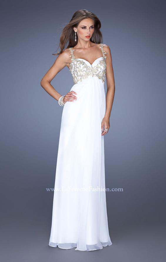 Picture of: Long Chiffon Prom Gown with Beaded Lace Details, Style: 19585, Detail Picture 2