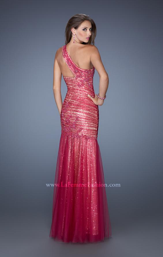 Picture of: One Shoulder Long Prom Dress with Fitted Ruching, Style: 19586, Back Picture