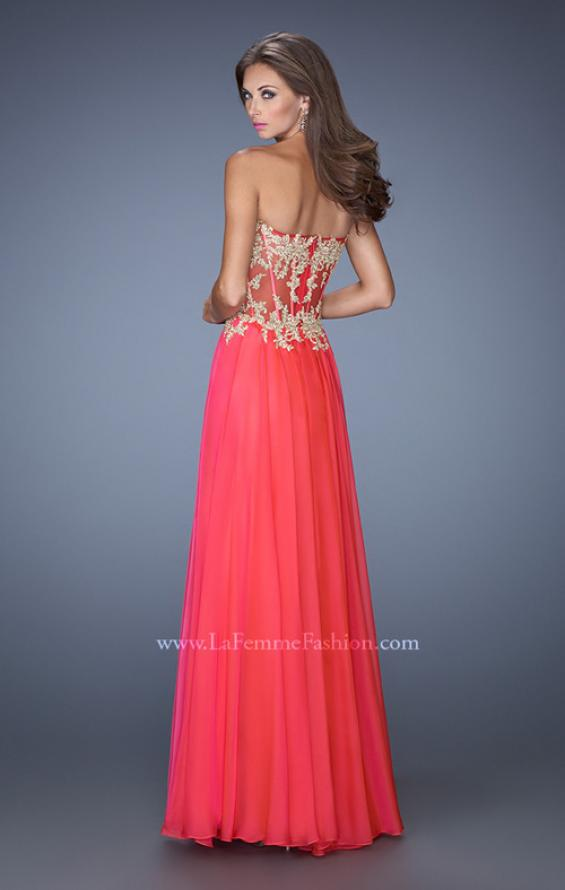 Picture of: Strapless Long Prom Dress with Sheer Lace Corset Bodice, Style: 19593, Back Picture
