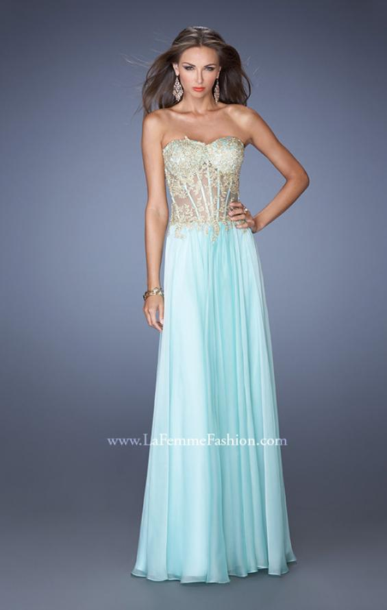 Picture of: Strapless Long Prom Dress with Sheer Lace Corset Bodice, Style: 19593, Detail Picture 2