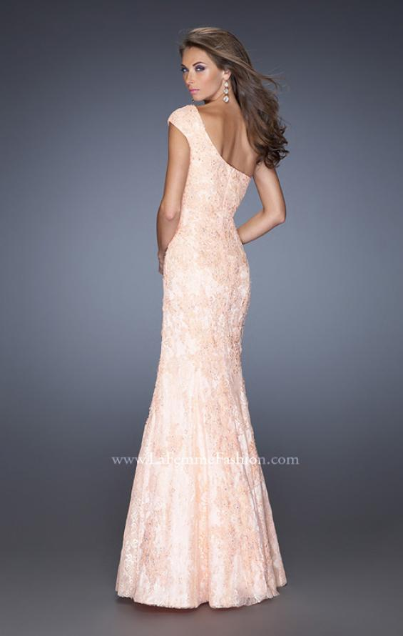 Picture of: One Shoulder Mermaid Prom Dress with Lace Overlay in Orange, Style: 19604, Back Picture