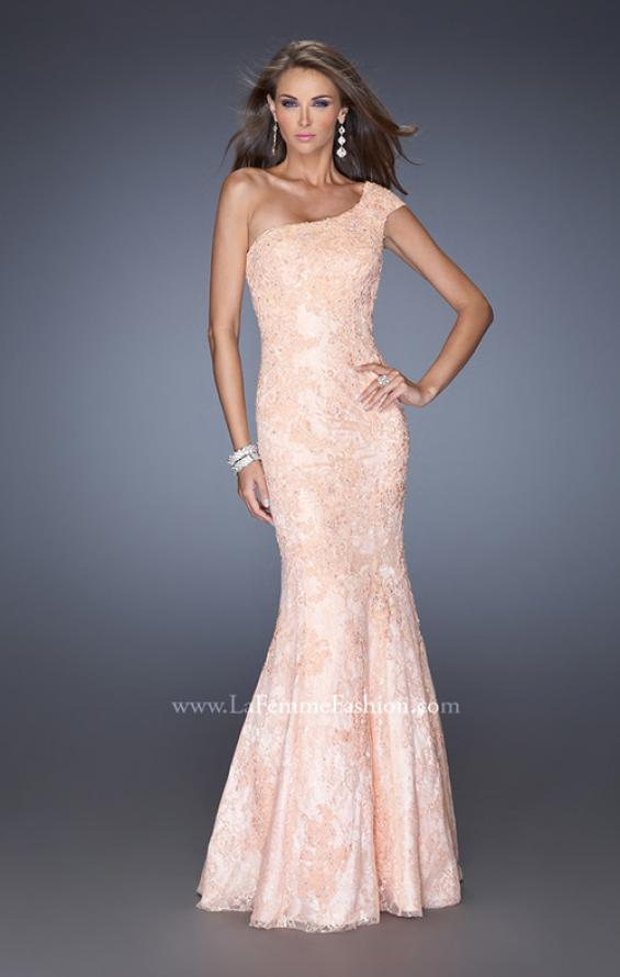 Picture of: One Shoulder Mermaid Prom Dress with Lace Overlay in Orange, Style: 19604, Detail Picture 1