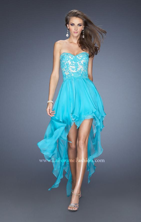Picture of: Strapless High Low Prom Dress with Lace Overlay Bodice in Blue, Style: 19607, Main Picture