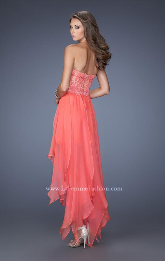 Picture of: Strapless High Low Prom Dress with Lace Overlay Bodice in Orange, Style: 19607, Back Picture