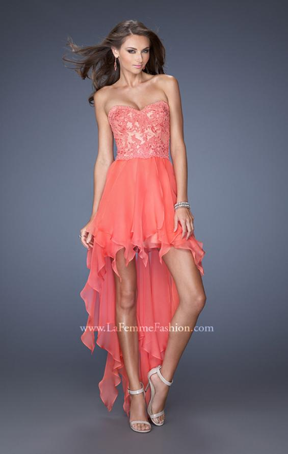 Picture of: Strapless High Low Prom Dress with Lace Overlay Bodice in Orange, Style: 19607, Detail Picture 1