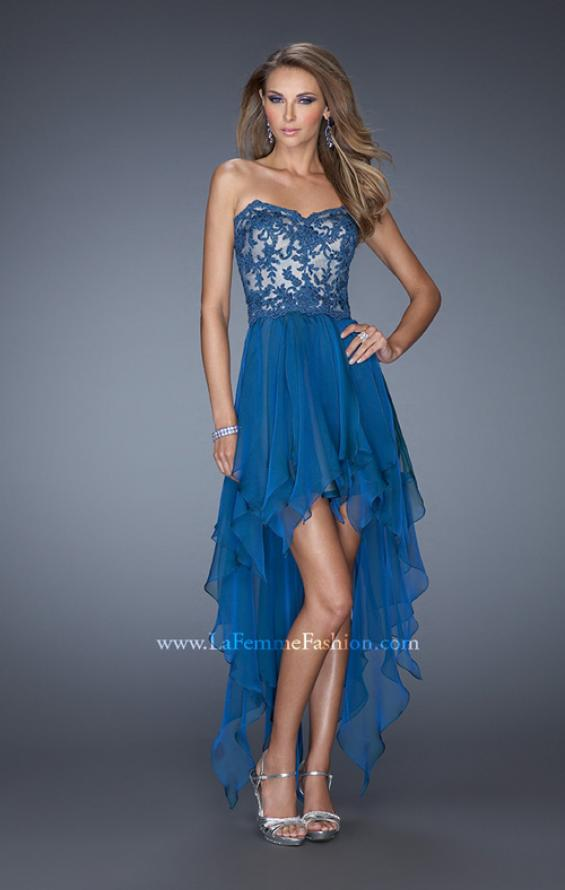 Picture of: Strapless High Low Prom Dress with Lace Overlay Bodice in Blue, Style: 19607, Detail Picture 2
