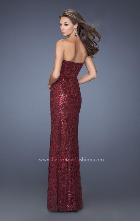 Picture of: Long Strapless Sequin Gown with Sheer Lace Overlay in Red, Style: 19612, Back Picture