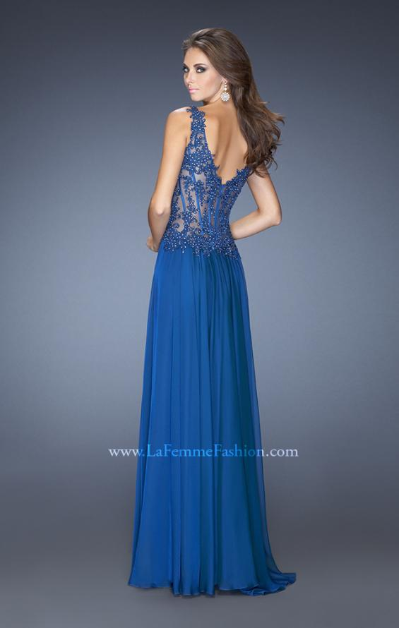 Picture of: Long Prom Gown with Sheer Beaded Lace Bodice in Blue, Style: 19615, Back Picture