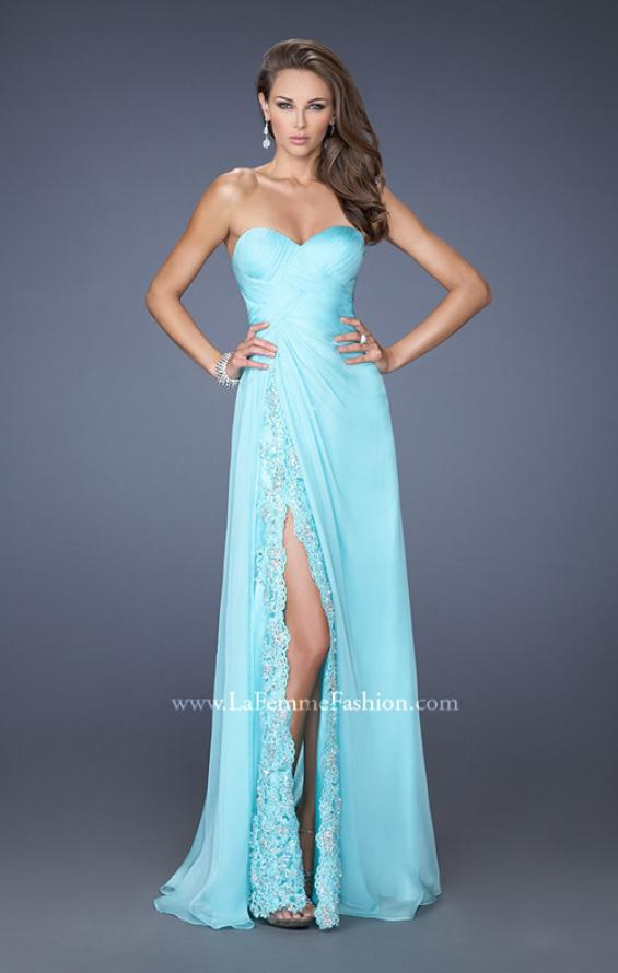 Picture of: Strapless Long Chiffon Prom Dress with Lace Trim Details in Blue, Style: 19630, Main Picture