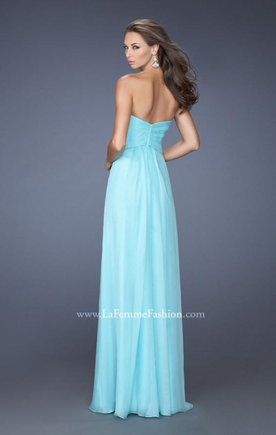 Picture of: Strapless Long Chiffon Prom Dress with Lace Trim Details in Blue, Style: 19630, Back Picture