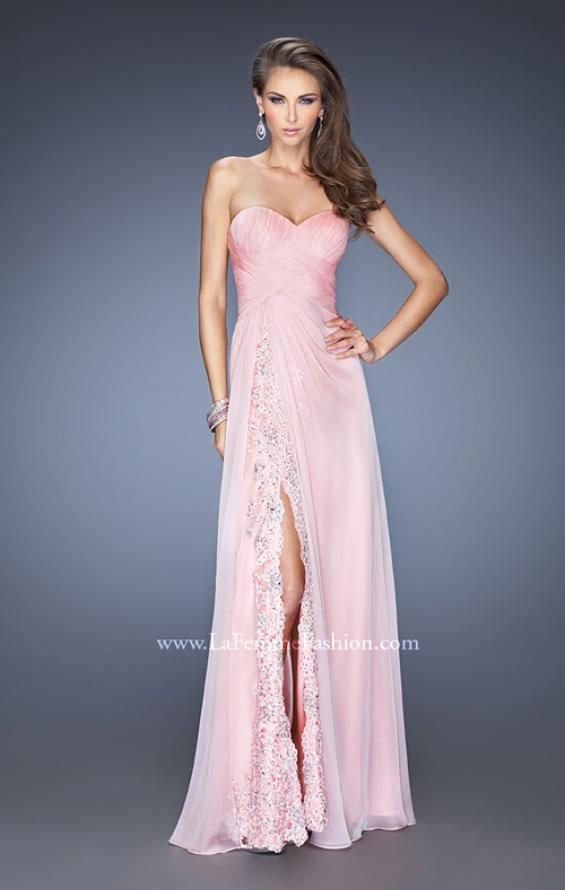 Picture of: Strapless Long Chiffon Prom Dress with Lace Trim Details in Pink, Style: 19630, Detail Picture 1