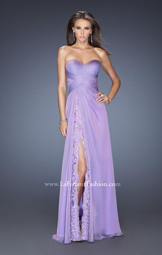 Picture of: Strapless Long Chiffon Prom Dress with Lace Trim Details in Purple, Style: 19630, Detail Picture 2
