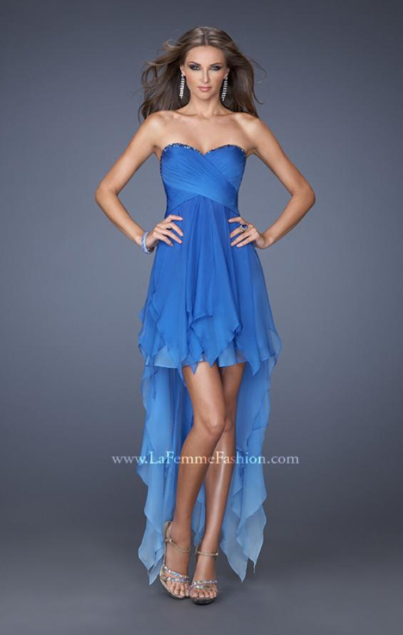 Picture of: High Low Ombre Prom Dress with Bejeweled Trim, Style: 19634, Main Picture