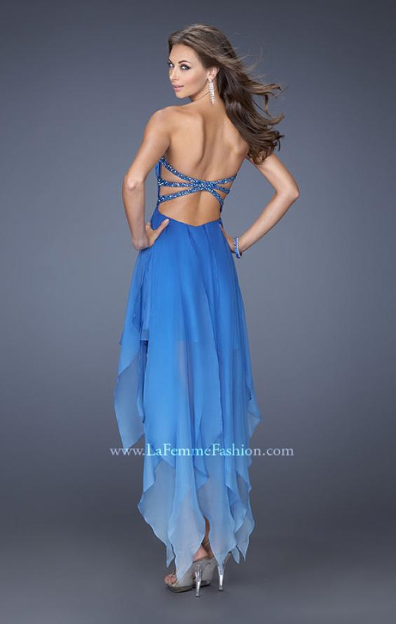 Picture of: High Low Ombre Prom Dress with Bejeweled Trim, Style: 19634, Back Picture