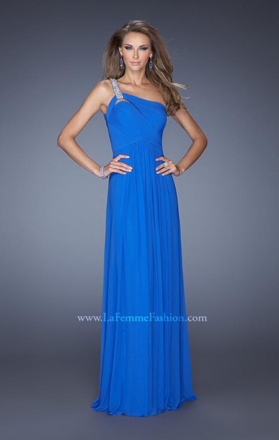 Picture of: One Shoulder Jersey Prom Dress with Embellished Straps in Blue, Style: 19639, Main Picture