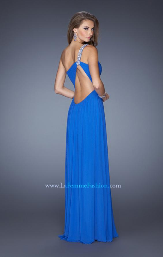 Picture of: One Shoulder Jersey Prom Dress with Embellished Straps in Blue, Style: 19639, Back Picture